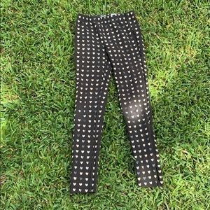 Girls Black leggings with gold and silver hearts